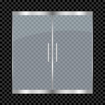 Glazen deur geïsoleerd op transparante achtergrond dubbele toegangsdeuren voor winkelcentrum kantoor winkel winkel
