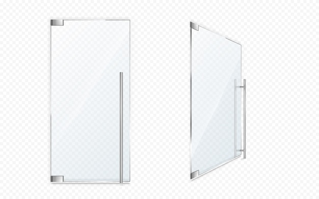 Glazen deuren met metalen grepen. sluit en open kantooringang, boetiekgevel, winkel of winkeldeur geïsoleerd. modern interieur element, realistische 3d-vector vermelding