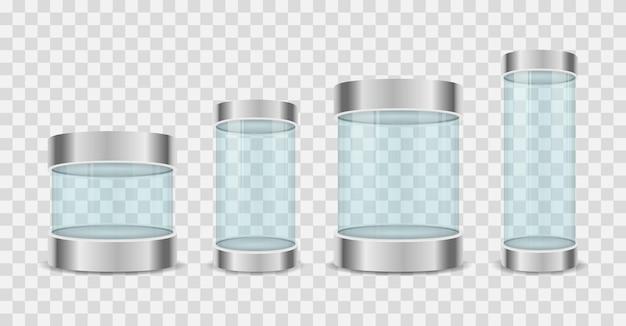 Glazen dooscilinder toont illustratie