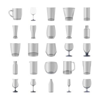 Glazen en flessen icons pack
