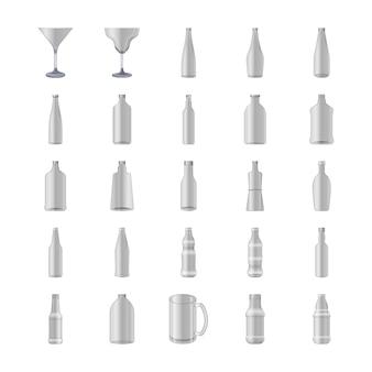 Glazen en flessen icons set