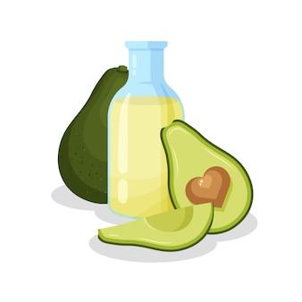 Glazen flacon met gezonde bakolie en avocado. fles en geheel vers fruit dat op witte achtergrond wordt geïsoleerd. illustratie voor aromatherapie, cosmetica, restaurant, biologische winkel.