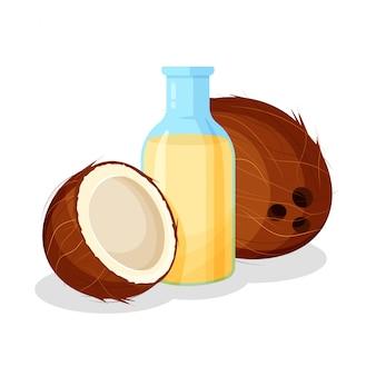 Glazen flacon met gezonde bakolie en kokos. fles en geheel vers fruit dat op witte achtergrond wordt geïsoleerd. illustratie voor aromatherapie, cosmetica, restaurant, biologische winkel.
