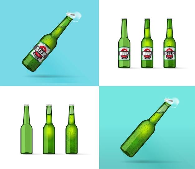 Glazen fles koud bier of sprankelende limonade geïsoleerd vectorsjabloon mockup