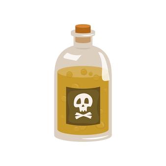 Glazen fles met geel gif en bubbels. schedel en gekruiste knekels.
