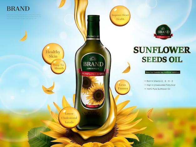 Glazen fles met zonnebloemolie met oliestroomelement, zonnebloemboerderij