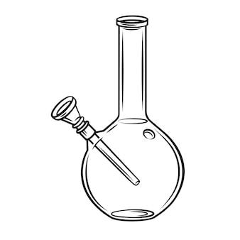 Glazen fles waterpijp rookpijp cannabis. Premium Vector