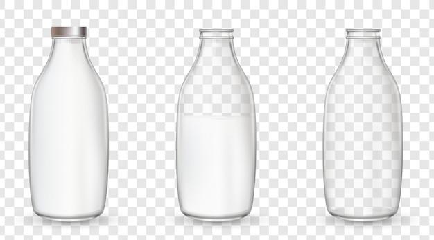 Glazen flessen met een melk.