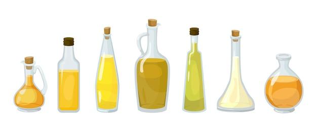 Glazen flessen met verschillende soorten oliën