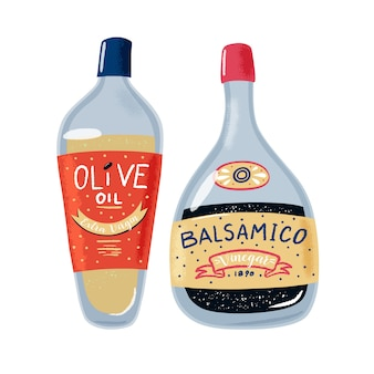 Glazen flessen olijfolie en balsamico azijn