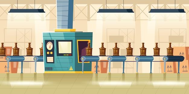 Glazen flessen op transportband, cartoon