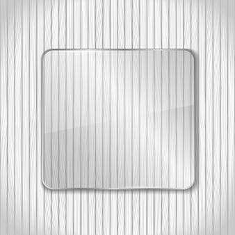 Glazen frame op witte houten achtergrond