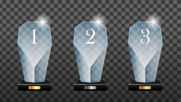 Glazen gouden, zilveren en bronzen podiumplaat met spiegelreflectie. winnaar glazen trofee. eerste prijs, kristalprijs en gesigneerde acryltrofeeën.