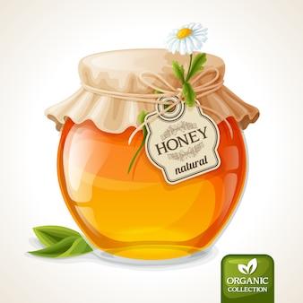 Glazen honingpot