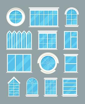 Glazen huis windows typen vector plat pictogrammen