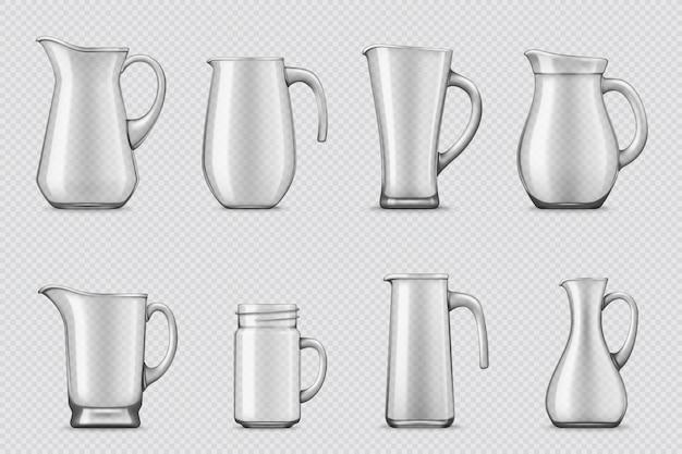 Glazen kannen en kruiken 3d realistisch