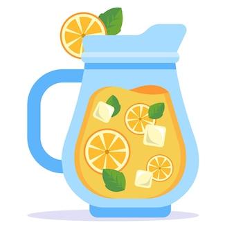 Glazen karaf met koude limonade. platte vectorillustratie.