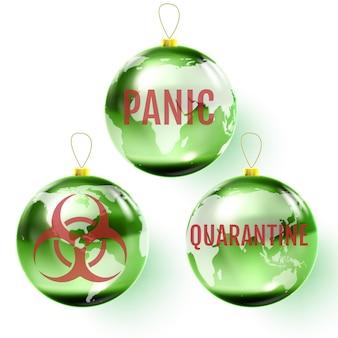 Glazen kerstbal gewijd aan de pandemie van het coronavirus. vector illustratie.