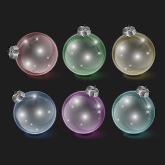 Glazen kerstspeelgoed op een transparante achtergrond kerstversiering transparant object