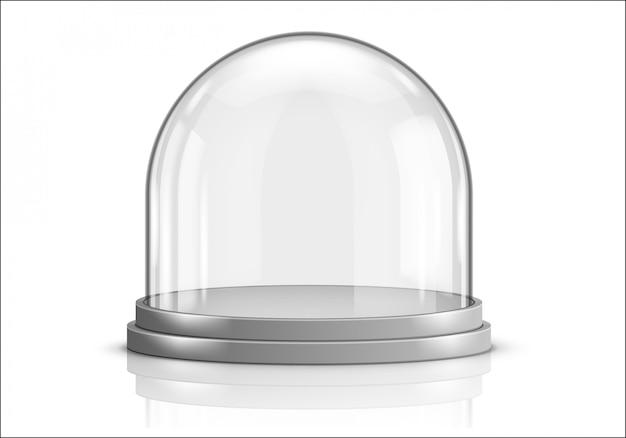 Glazen koepel en grijze plastic dienblad realistische vector