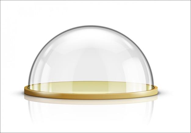 Glazen koepel en houten dienblad realistische vector