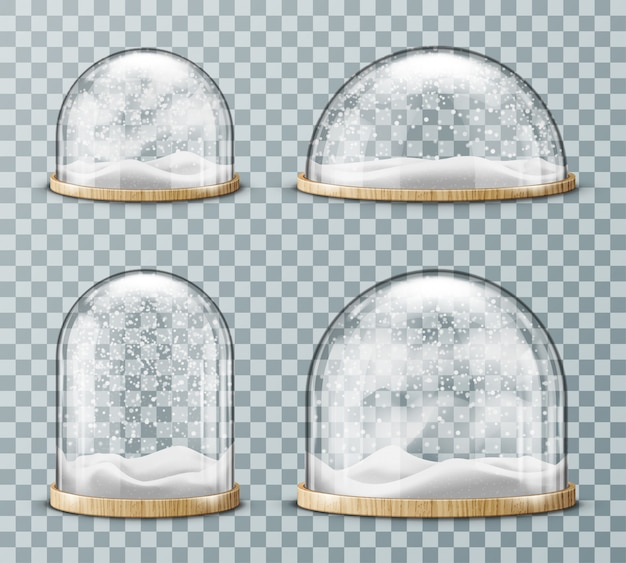Glazen koepel met realistische sneeuw