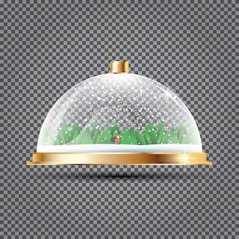 Glazen koepel met sneeuw, kerstman en bomen op transparant.