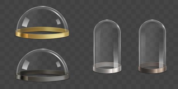 Glazen koepels, bel potten realistische vector set