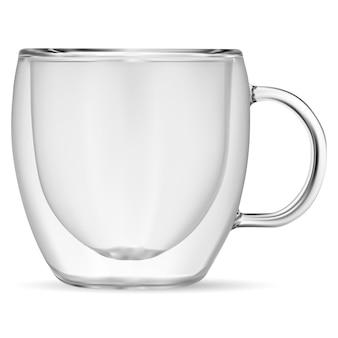 Glazen koffiekopje. transparante dubbelwandige theemok