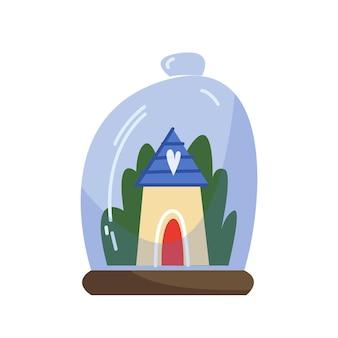 Glazen kolf met een gezellig winterhuis en een groen bos leuke vectorkerstillustratie