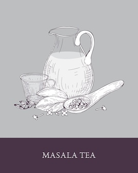 Glazen kruik, kopje masala chai of gekruide thee, lepel en verschillende indiase kruiden op grijs