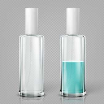 Glazen lege cosmetische flessen.