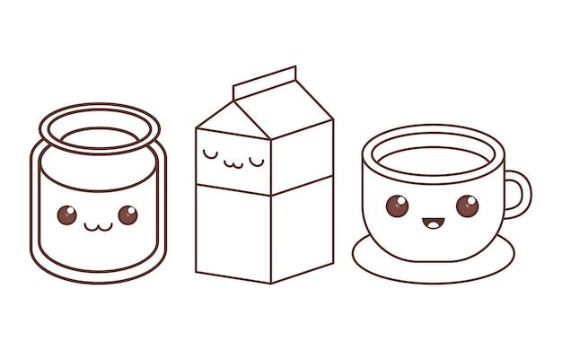 Glazen melk kartonnen beker kawaii pictogram afbeelding zwarte lijn