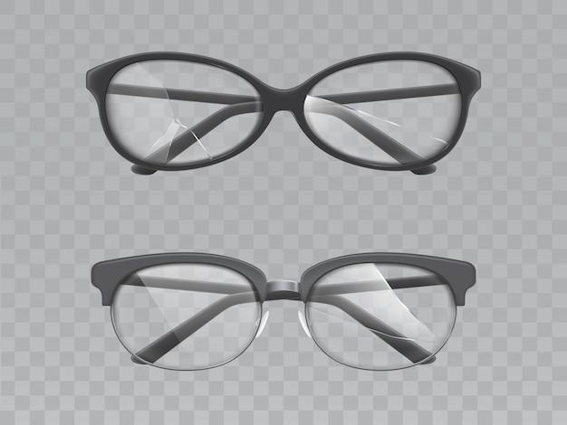Glazen met gebroken lenzen realistische vector set