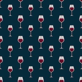 Glazen met rode wijn naadloos patroon