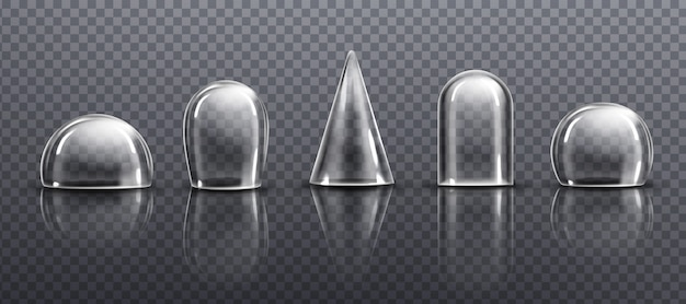 Glazen of doorzichtige plastic koepels in verschillende vormen