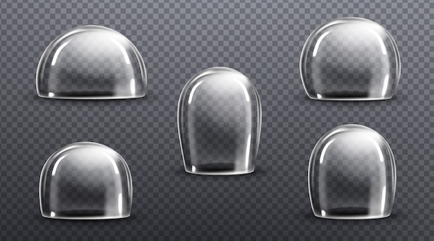 Glazen of doorzichtige plastic koepels. vector realistische mockup van lege beschermkap, acryl stolp