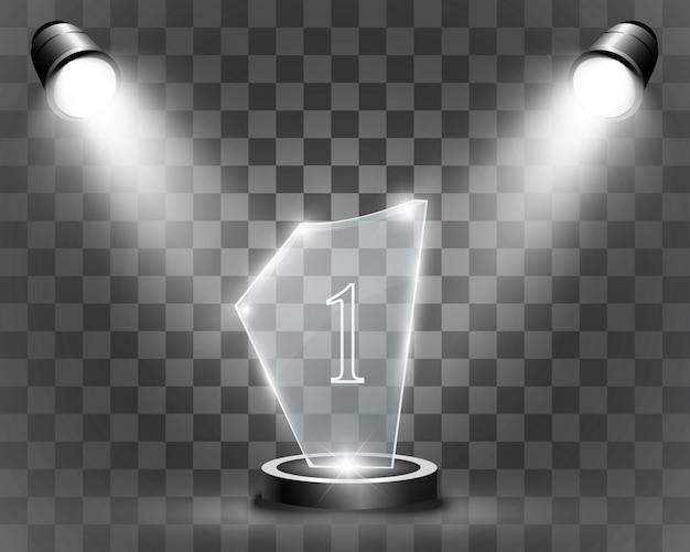 Glazen onderscheiding. beeldje voor de winnaar.