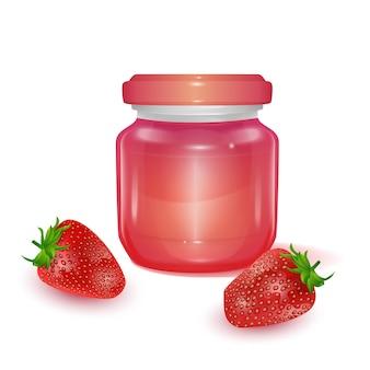 Glazen pot met appeljam illustratie