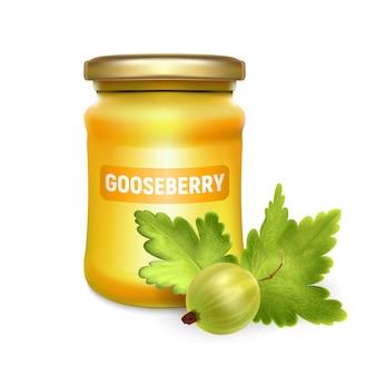 Glazen pot met confituur, configureren of honing met realistische kruisbes