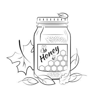 Glazen pot met honing omgeven door herfstbladeren. afbeelding kleuren. Premium Vector