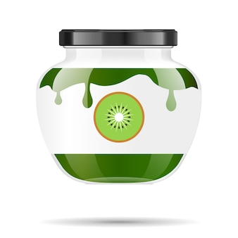 Glazen pot met jam en configureren met kiwi. verpakking collectie. label voor jam. bank realistisch.