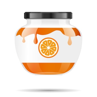 Glazen pot met jam en configureren met oranje. verpakking collectie. label voor jam. bank realistisch.