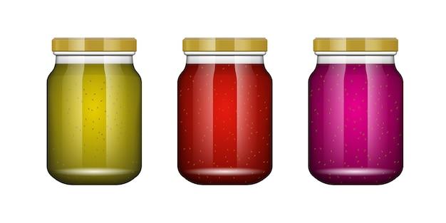 Glazen pot met jam en configureren. verpakking collectie. label voor jam. bank realistisch. glazen pot zonder label en logo.