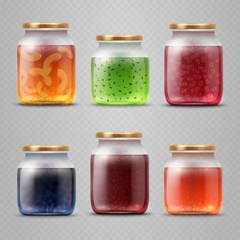 Glazen pot met met jam en fruitmarmelade vector set. kruik met fruitjam en eigengemaakte dessertillustratie