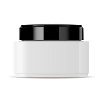 Glazen pot voor cosmetische crème zwart plastic deksel