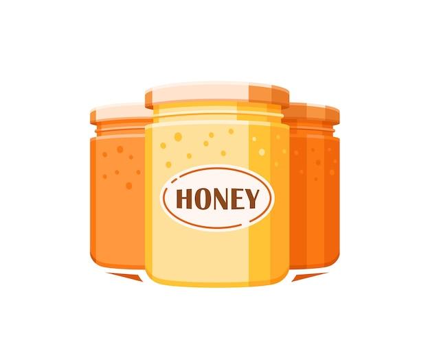 Glazen potten met honing geïsoleerd op witte achtergrond