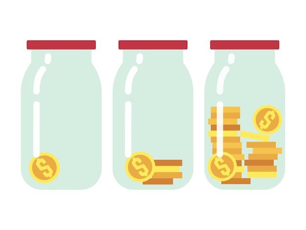 Glazen potten met munten binnen set
