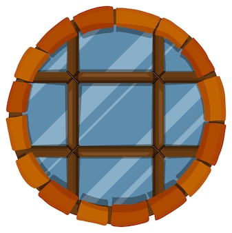 Glazen raam met bakstenen frame
