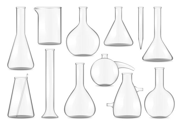 Glazen reageerbuizen, chemiekolven en bekers